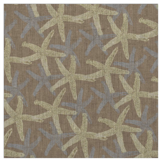 fabric Nautical starfish brown grey white yellow