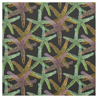 fabric Nautical starfish  pink green yellow black