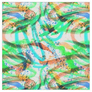 Fabric Neon Brushstroke Paint Splatter Blue Green
