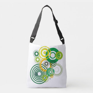 Fabric purse with green circles crossbody bag