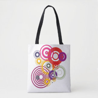 Fabric purse with red circles tote bag