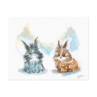 Fabric small rabbits canvas print