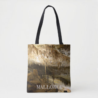 fabric stock market Caves of the Drach in Majorca Tote Bag