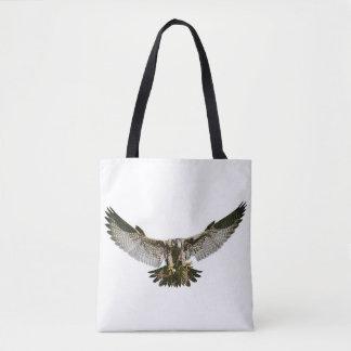 fabric stock market hawk flying tote bag