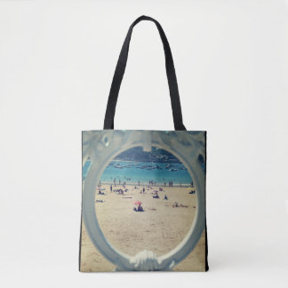 Fabric stock market with beach printing tote bag