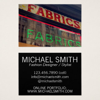 Fabric Store Neon Sign Costume Fashion Designer Business Card