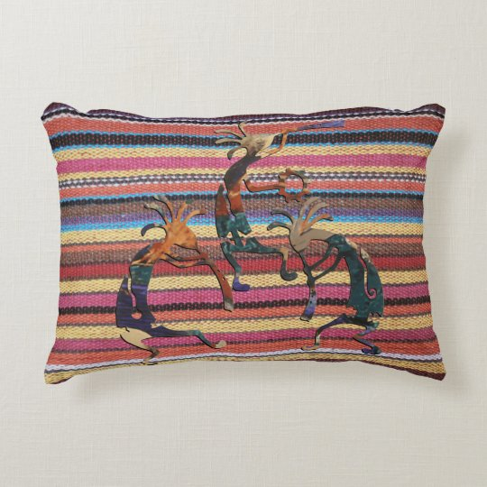 Fabric Stripes Pattern coloured I + KOKOPELLI Accent Pillow