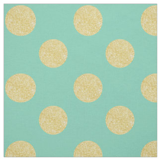 Fabric: Turquoise & faux gold polka dots Fabric