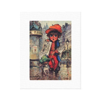 Fabric Urchin with the newspaper Canvas Print