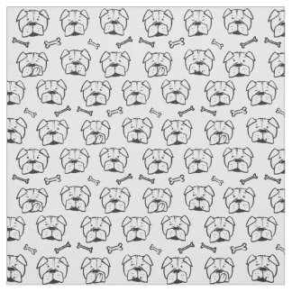 Fabric with an english bulldog pattern