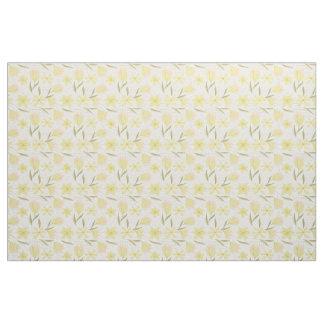 Fabric with yellow crocuses