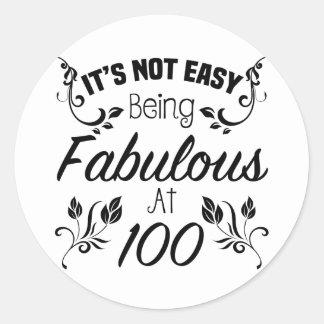 Fabulous 100th Birthday Classic Round Sticker
