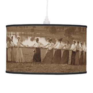Fabulous 1890's Women Woman Tug of War Tug O War Pendant Lamp