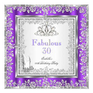 Fabulous 30 Party Purple Silver Shoes Card