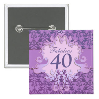"""""""Fabulous 40"""" age damask elephant button/badge 2 Inch Square Button"""