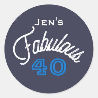 Fabulous 40 Birthday Classic Round Sticker