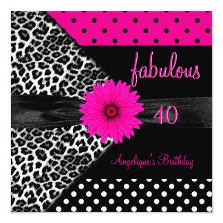 fabulous 40 Birthday Zebra Spot Polka Dot Invite