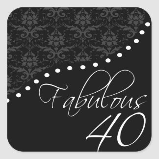 Fabulous 40 Personalized Black Birthday Party Square Sticker
