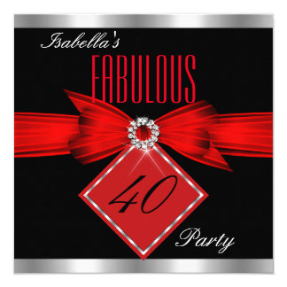"""Fabulous 40 Red Black Silver Birthday Party 5.25"""" Square Invitation Card"""