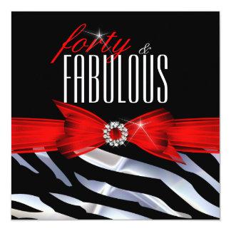 "Fabulous 40 Red Zebra Black White Birthday Party 5.25"" Square Invitation Card"
