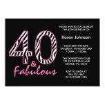 "Fabulous 40th Black and Pink Zebra Birthday 5"" X 7"" Invitation Card"