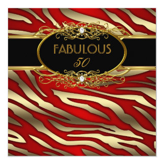 """Fabulous 50 50th Birthday Party Gold Zebra RED 5.25"""" Square Invitation Card"""