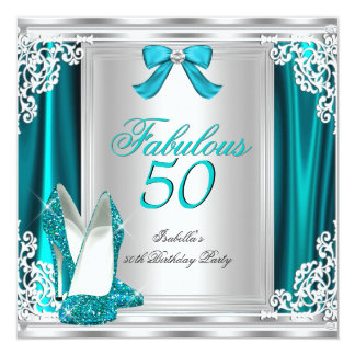 Fabulous 50 50th Birthday Party Teal Shoes Card