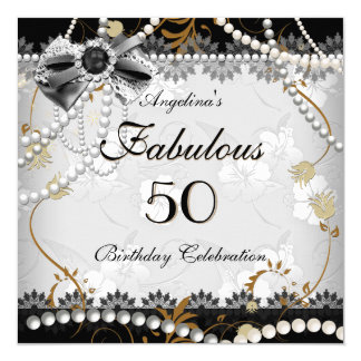 Fabulous 50 Beige Gold Black Gray Floral Birthday Card