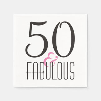 Fabulous 50 Birthday Party | Black Pink Diva Paper Napkins