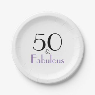 Fabulous 50 Birthday Party Stylish Paper Plates 7 Inch Paper Plate