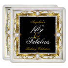 Fabulous 50 Birthday Party White Pearl Gold Black Card