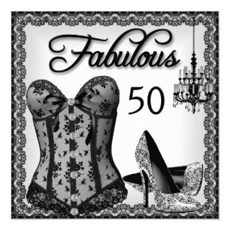 Fabulous 50 Black White Corset High Heels Party Card