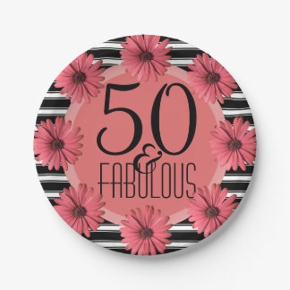Fabulous 50 Coral Daisy | Floral 50th Birthday 7 Inch Paper Plate
