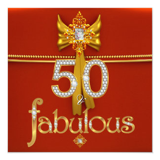 """Fabulous 50 Diamond Gold Deep Red Birthday Party 5.25"""" Square Invitation Card"""