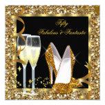 "Fabulous 50 & Fantastic Black Gold Birthday Party 5.25"" Square Invitation Card"