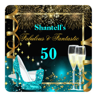 Fabulous 50 Fantastic Festive Teal Gold Party Card