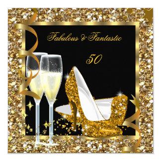 "Fabulous 50 Fantastic Gold Black Birthday Party 5.25"" Square Invitation Card"