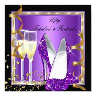 Fabulous 50 Fantastic Purple Black Gold Party Card