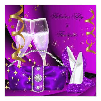 Fabulous 50 Fantastic Purple High Heels Birthday Card