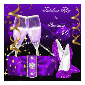 "Fabulous 50 Fantastic Purple High Heels Glitter 5.25"" Square Invitation Card"