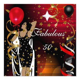 """Fabulous 50 Fifty Birthday Party Black Red Stars 2 5.25"""" Square Invitation Card"""