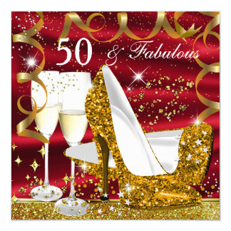 Fabulous 50 Glitter Gold Heel Red Glitz Glam Party Card