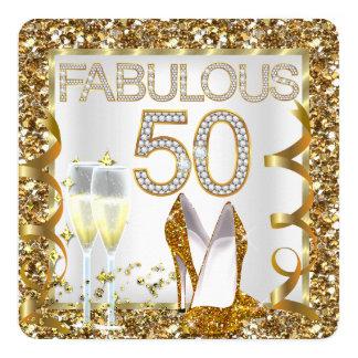 "Fabulous 50 Glitter White Gold Birthday Party 5.25"" Square Invitation Card"