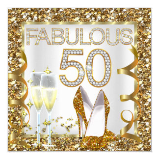 Fabulous 50 Glitter White Gold Birthday Party Card