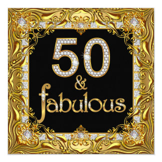 "Fabulous 50 Gold Diamond on Black Birthday Party 5.25"" Square Invitation Card"