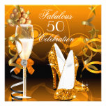 Fabulous 50 Gold Orange Birthday Party Personalized Invitations