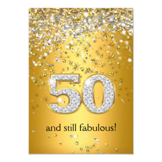 "Fabulous 50 Gold Silver Streamers 50th Birthday 5"" X 7"" Invitation Card"