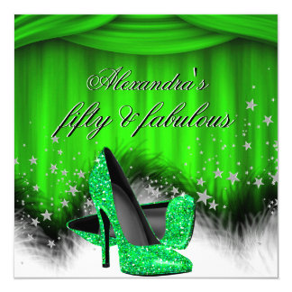 """Fabulous 50 Lime Green High Heels Feather Birthday 5.25"""" Square Invitation Card"""