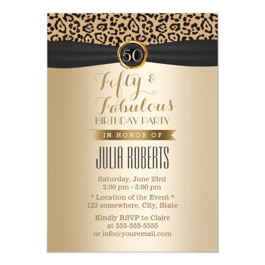 Fabulous 50 Luxury Leopard Moden Black & Gold Card