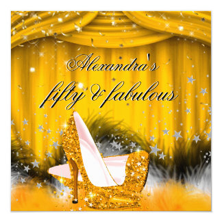 """Fabulous 50 Orange Gold High Heels Feather Party 5.25"""" Square Invitation Card"""